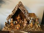 Vtg Italian Nativity Set With 8 Figures Wooden Creche Manger Made In Italy