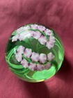 Don Bagwell Vintage Flower Pink green Glass Paperweight Signed Dated 1988