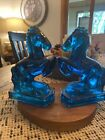 Le Smith Blue Glass Crystalline Glass 8 Tall 3Wide Set Of Horse Bookends Nice