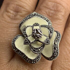 Vintage 925 Sterling Silver Statement Ring Flower Glass Inlay Size 85