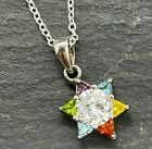 Vintage 925 Sterling Silver Star Pendant Multi Colored Glass 18 Chain