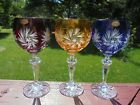 3 Bohemian Lead Crystal Cut to Clear Wine Goblets Red Blue Amber 6 9 16