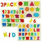 Wooden Puzzles for ToddlersAlphabet Number Puzzles for Ages 3 4 5Set of 3
