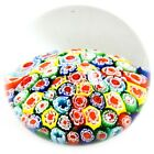 Vintage Art Glass Millefiori Floral Paperweight Yellow Green Red 2 Tall Murano