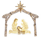 Christmas Holy Family Nativity Scene 6ft Lighted Outdoor Yard Decoration Stable