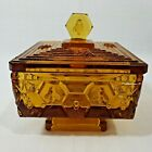 Fenton Amber Glass Honey Bee Square Pedestal Bowl Candy Dish with Lid