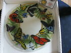 Peggy Karr Fused Glass Butterflies Round Plate 11 Signed