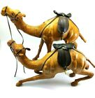 2 x Vintage Handcrafted Leather Wrapped Camel Figurine