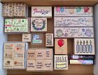 Vintage Lot of Wood Mounted Rubber Stamps Birthday  Other Greetings