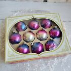 Vintage USA Shiny Brite Blue Pink Ombre Glass Ball Ornaments