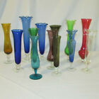 Vintage Assorted Collection 13 Delicate Colored Glass Bud Vases Etched Pedestal