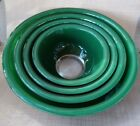 Set 4 PYREX Forest Green Clear Bottom NESTING Mixing BOWLS 322 323 325 326 EUC