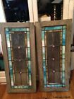 Pair of Antique Stained Glass Panels Use as Windows Doors Wall Art Slag Glass