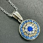 Vintage 925 Sterling Silver Circle Pendant Necklace Blue Yellow White Glass