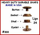 20 Sets - Antique Brass - LEATHER Canvas SNAP No TOOLS