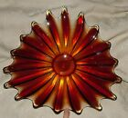 1950s Venetian Glass Huge Pulled Loop Shallow Console Bowl Amberina Red Yellow