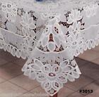 Battenburg Lace with Sheer Floral Tablecloth with Napkins White