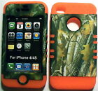 Camo Tree on Orange Silicone Apple iPhone 4 4S Hybrid 2 in 1 Rubber Cover Case
