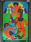 Original Vtg 1972 PANTHER AND GUARDIANS Black Light Abstract Poster Nude Apogee