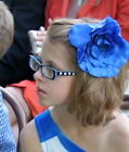 Kids Girls Blue Glasses Optical Frames w. Cute White Flowers Children's Eyewear