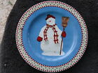 Sakura Snowman Red Check & Holly Rim One Snowman Broom Hat Blue Salad Plate
