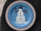 Sakura Snowman Red Check & Holly Rim One Snowman Branches Birds Blue Salad Plate