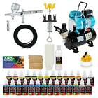 Complete Pro G44 MASTER Dual Action AIRBRUSH w AIR COMPRESSOR KIT and Paint
