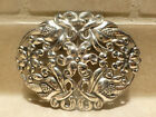 Vintage sterling silver signed Fo brooch pin flower Art Deco cutout pendant