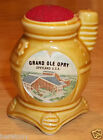 Vintage GRAND OLE OPRY Souvenir ART POTTERY Pin Cushion Wood Sto