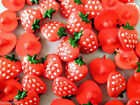 HAND PAINTED STRAWBERRY SHANK BUTTON FOR BABY CHILDRENS CRAFTS APPROX 15mm