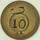 Dominican Republic Batey Angelina  C-1880 10 Centavos Token with Counterstamp