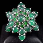 56.03 CT.NATURAL GEM ROUND CAB TOP RICH GREEN AVENTURINE 925SILVER RING SZ 7.5