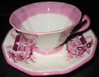 Unusual Czechslovakian Pink Lustre Cup and Saucer, Houses Pattern