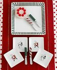 Fitz & Floyd Merry Christmas Appetizer Set 9-pcs New