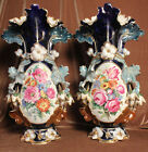 Beautiful Pair of 19th C. Hand Painted Old Paris Porcelain Vases #7561