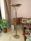 CHIC 60s MID CENTURY MODERN DANISH STYLE WOOD FLOOR LAMP BRASS SHADE BOWL
