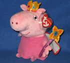 TY PRINCESS PEPPA PIG BEANIE BABY - MINT TAGS - UK EXCLUSIVE VERSION - SEE PICS