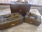 Joy Mangano Better Beauty Cases - Set of 3 - Navy/Gold Striped