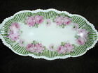 BEAUTIFUL HAND PAINTED PORCELAIN SERVING DISH WITH VIBRANT ROSES/GOLD TRIM