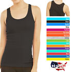 Womens Tank Top 100 Cotton Heavy Weight Ribbed A Shirt Basic Workout S M L XL