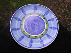 Caleca Blue Moon Green White Blue Bands Leaves Dots Dinner Plate