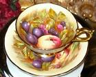 Aynsley Handpainted Orchard Fruit Gilded Tea Cup and Saucer Signed D Jones c1930