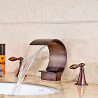 NEW Luxury Oil Rubbed Bronze Waterfall Bathroom Faucet Sink Mixer Tap Widespread