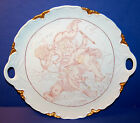 HUTSCHENREUTHER GERMANY WHITE & GOLD HANDLED CAKE PLATE w/ WINGED PUTTI (18-C)