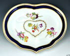 Fantastic Antique English Derby Dish, Heart Shape, Floral Motif, Stylized Heart
