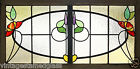 Large Antique Stained Glass Stunning Eight Color Floral     2755