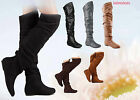 Cute Pull Up Round Toe Comfort Flat Slouchy Thigh High Boot Shoes Size 6 11 NEW