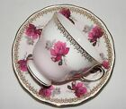 VINTAGE QUEEN ANNE ENGLISH BONE CHINA PINK VICTORIAN  ROSE TEA CUP