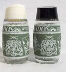 Barbados West Indies Vintage Glass Salt & Peppers Shakers Green White euc