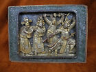 VINTAGE ORIENTAL CARVED WOOD WALL HANGING  PLAQUE OF FIGURINE GILDED